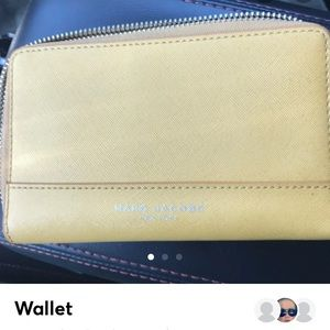 Marc Jacobs mustard yellow wristlet wallet